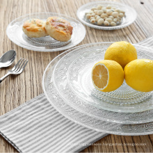 Haonai kitchen glasswares glass fruit plate round plate,cheap glass plate