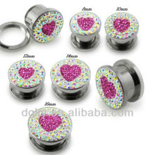 fashion heart shaped ear plug body piercing jewelry