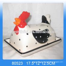 Beliebtes Design Keramik Tier Butter Gericht mit Hühnchen Form