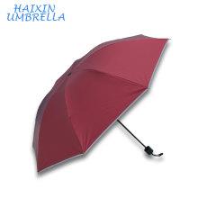 Красный Цвет Personaized Логотип Печатных Дешевые Отражать Свет Край 3 Сложить Зонтик Оптовая Рекламные Подарок Защитные Зонтики
