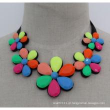 Senhora moda colorida acrílico flor traje colar de jóias (je0170)