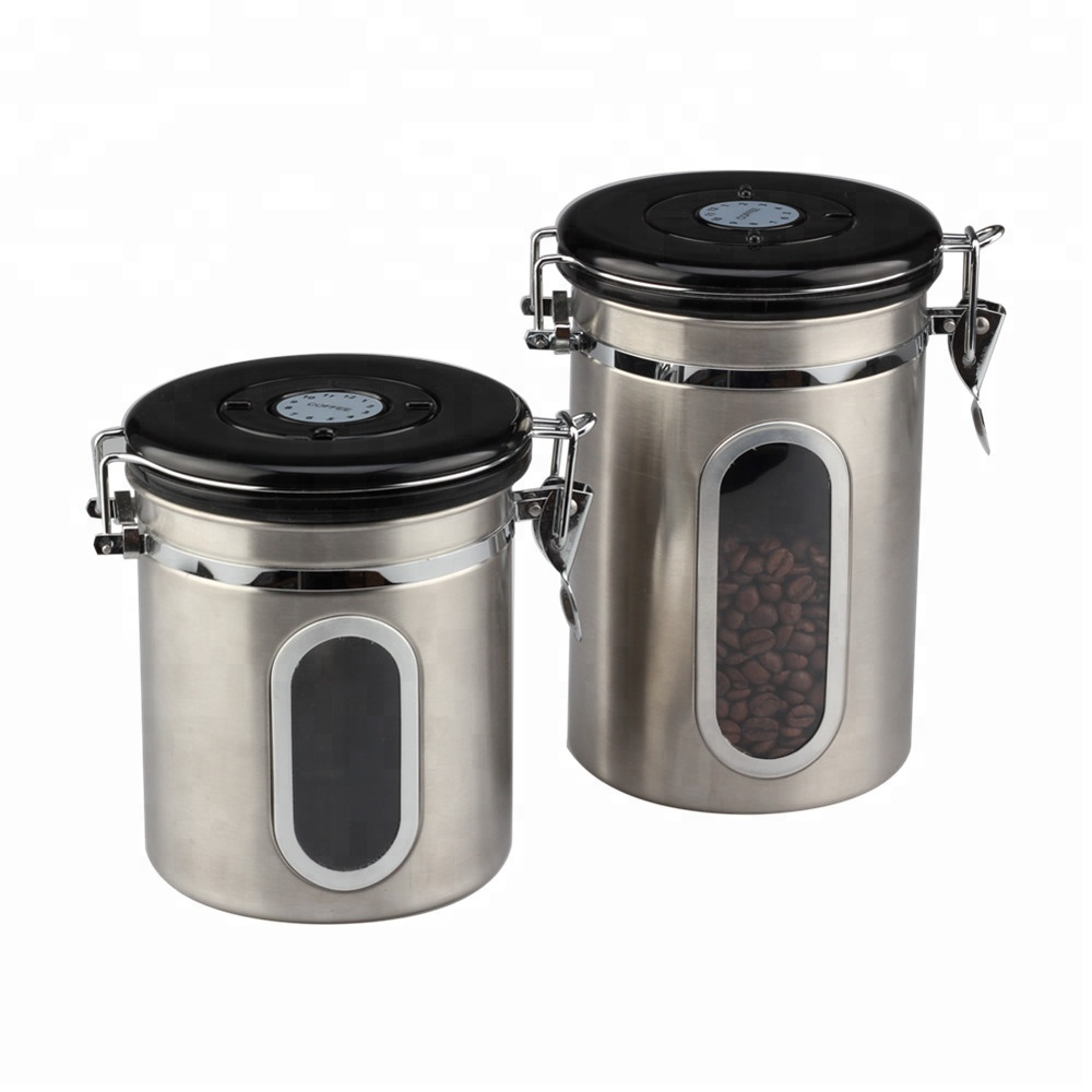 Stainless Steel Coffee Canister With Airfresh Valve 2