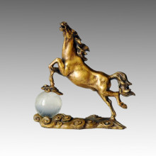 Animal Bronze Sculpture Horse Crystal Ball Brass Statue Tpal-025