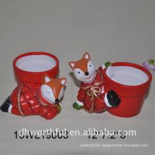 2016 new design ceramic flower vase in fox shape