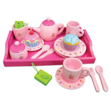 Pink Hot Sales Wooden Cupcake Tea Set Toys for Children