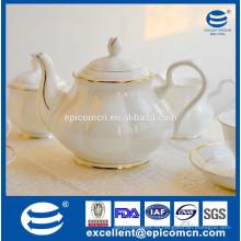 Тонкий фарфоровый чайный горшок, чайный горшок с роскошным золотым бордюром