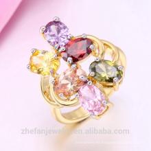 El anillo de oro más nuevo diseña la joyería plateada rodio del chapado en oro de la sola piedra del oro 18K es su buena selección