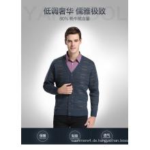 Yak Wolle / Cashmere V-Ausschnitt Strickjacke Langarm Pullover / Strickwaren / Kleidung / Kleidung