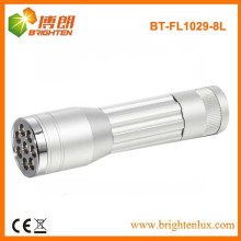 Factory Bulk Verkauf Aluminium EDC 1aa Zelle Powered Kleine 8 LED Mini billig Aluminium LED-Taschenlampe