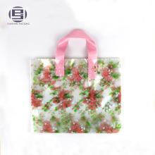 Transparent printing beautiful flower loop handle bag for shopping