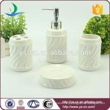 Corrugated branco cerâmica banheiro acessórios conjunto