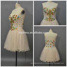 Девочки Necklline милая бисером на заказ короткое мини-проекты вечерние наряды ED085 сексуальное короткое платье