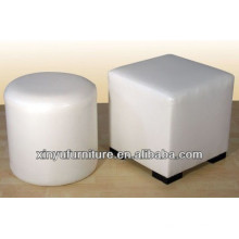 Cylinder round ottoman with white PU leather upholstery XY0304