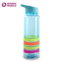 High Quality BPA Free Plastic Bottles With Straw Food Grade Silicon