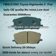 D1005 almohadilla semi-metálica de alto rendimiento para Toyota Highlander