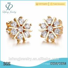 2016 cadeau de noel nouvelle conception neige boucles d'oreilles en cristal d'or stud