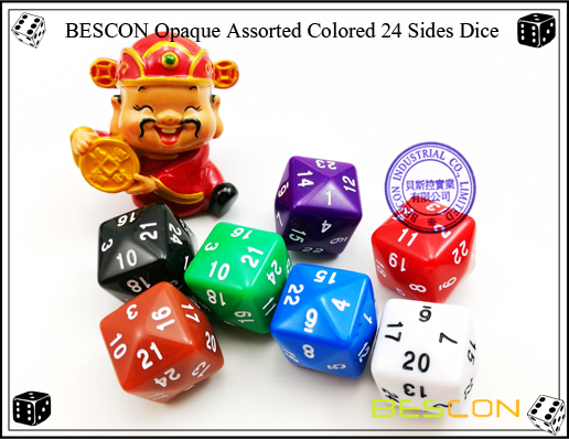 BESCON Opaque Assorted Colored 24 Sides Dice