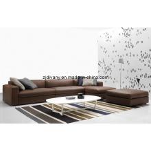 Sofa de cuir italien L moderne forme (D-63)