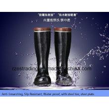 100% borracha mineração botas de segurança com biqueira de aço, placa de aço