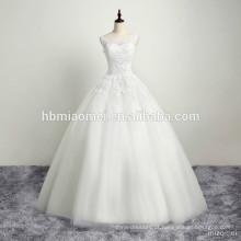 Vestido de casamento branco novo das mulheres florais da tela do laço da chegada