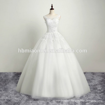 New Arrival Lace Fabric Floral Women White Wedding Dress