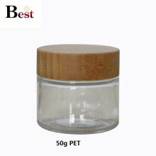 frasco de animal de estimação claro de empacotamento cosmético 50g com a tampa de bambu para o creme