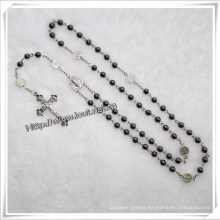 Black Round Hematite Bead Rosary with Satin Papal Crucifix (IO-cr027)
