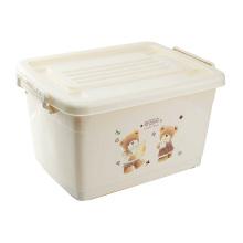 Cartoon Design Handle Plastic Storage Box with Wheels