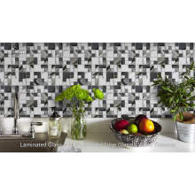 Square Marble Mixed Laminated Glass Mosaic for Kitchen Backsplash