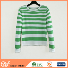 Suéter a rayas de manga larga con cuello redondo y manga larga de mujer