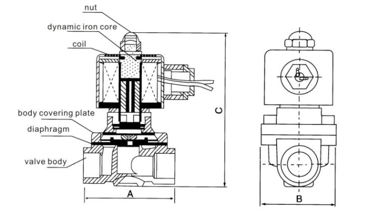 2W040-10 Normal Closed Solenoid Valve dimension Drawing