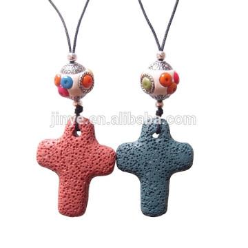 Sundysh Kreuz Halskette, handgemachte lange böhmische Heilung Stein Kreuz Halskette