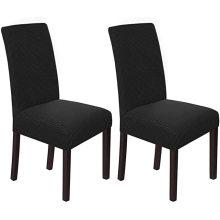 Textiles para el hogar Fundas para sillas Juego de fundas para sillas de comedor elásticas de sarga negra para interiores