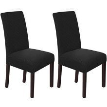 Indoor Black Twill Stretch Dining Chair Covers Set