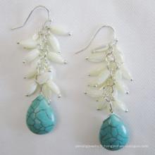 Boucles d'oreilles en coquille d'eau douce, Boucles d'oreilles turquoise (EP97)