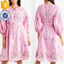 Three Quarter Length Sleeve Embroidered Cotton Mini Summer Dress Manufacture Wholesale Fashion Women Apparel (TA0327D)