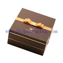 Caixa de chocolate de duas camadas de embalagem de papel com fita