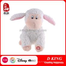 Jouets électroniques blancs en peluche de moutons pour enfants