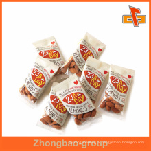 Transparent small back side heat seal flat plastic nuts bag for almonds packaging