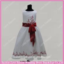 RP0093 Personalizar feito vermelho real bordar bordas faixa de comprimento completo vestido de bola vestido de menina de flor vestido de menina de flor de organza de foto real