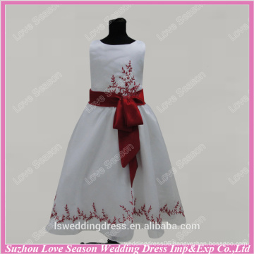 RP0093 Customize made real red embroider beads sash full length ball gown flower girl dress real photo organza flower girl dress
