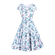 Taille KnielangColorful Large Printed Fabric Retro Dress