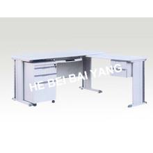 (C-71) Mesa de cor branca com material de madeira