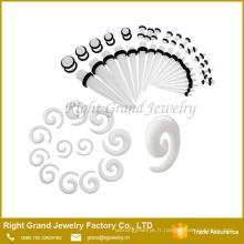 Gros cône d'oreille en spirale acrylique, boucle d'oreille bijoux piercing
