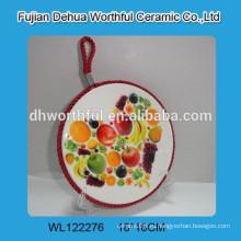 Подвесной держатель керамического горшка с фруктовым рисунком, декоративный керамический коврик