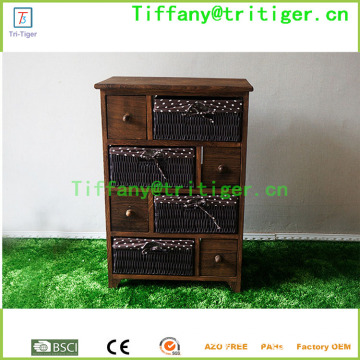 Home storage furniture wooden cabinet with rattan/wicker/rush straw baskets drawers cabinet