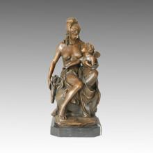 Classical Figure Bronze Sculpture Mother-Daughter Home Decor Brass Statue TPE-057