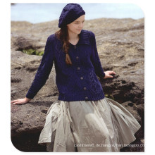 Damen Strickjacke im Retro-Stil aus reiner Cashmere Strickjacke mit einreihigem Langarm-Turtle-Neck
