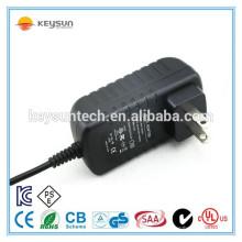 Wall montou plug 12v 1.5a adaptador de corrente alternada 18w com UL CUL CE FCC PSE KC