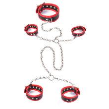 3PCS / Set взрослый Sm установленный секс Наручники лодыжки манжеты шея Sex Toys Bdsm повязка металлическая цепочка